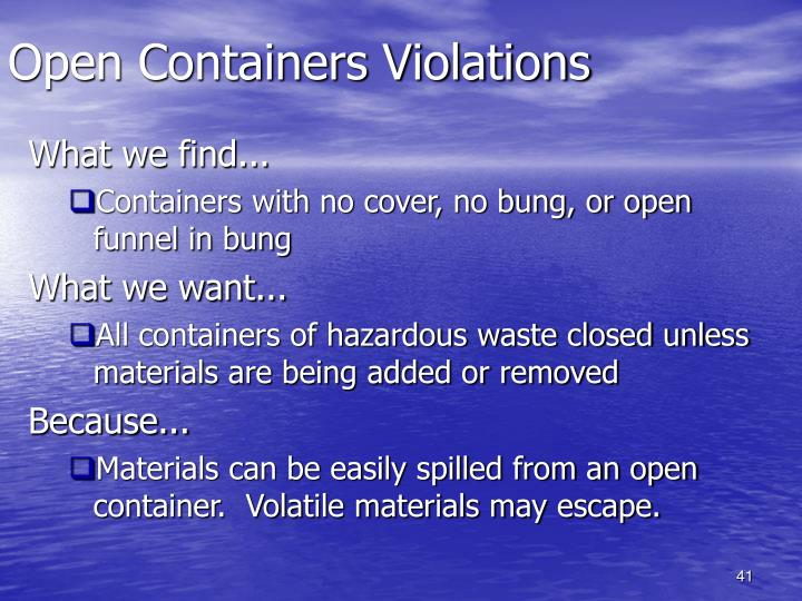 Open Containers Violations