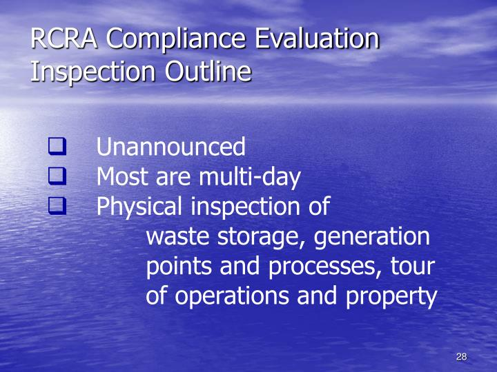 RCRA Compliance Evaluation Inspection Outline
