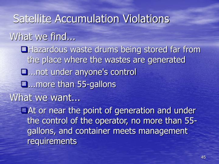 Satellite Accumulation Violations