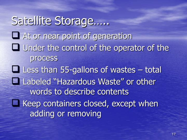 Satellite Storage…..