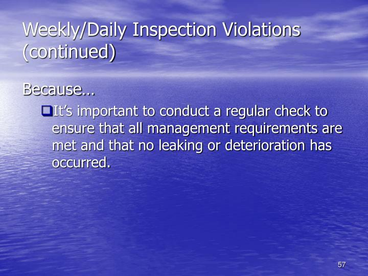 Weekly/Daily Inspection Violations (continued)