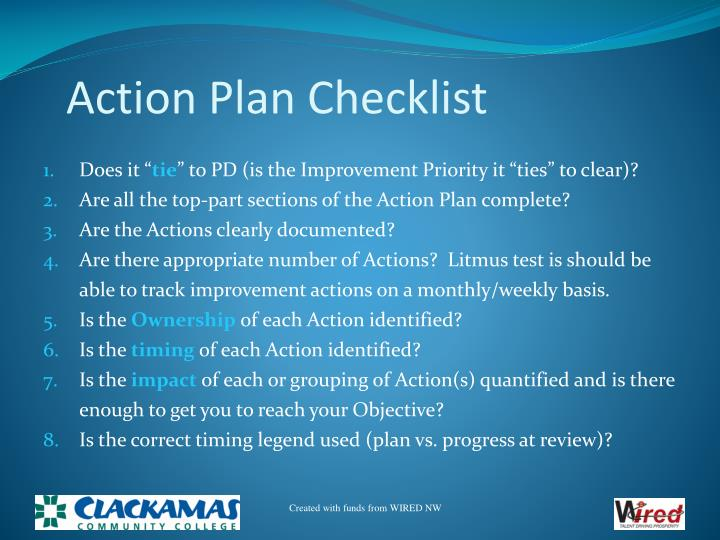 Action Plan Checklist