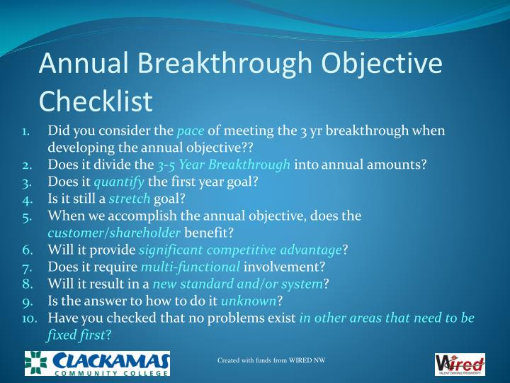 Annual Breakthrough Objective