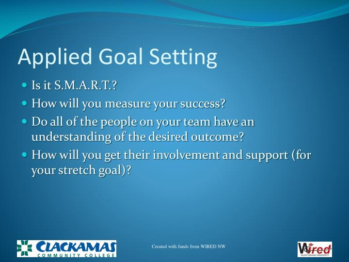Applied Goal Setting