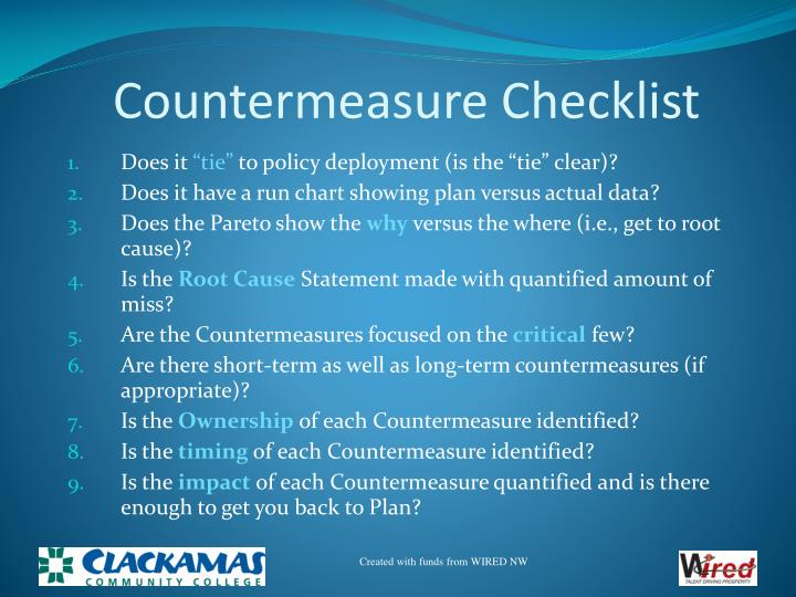 Countermeasure Checklist