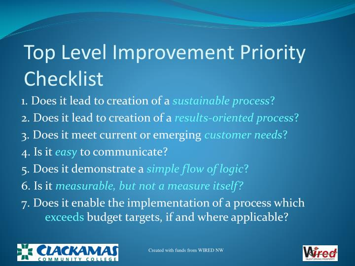 Top Level Improvement Priority Checklist