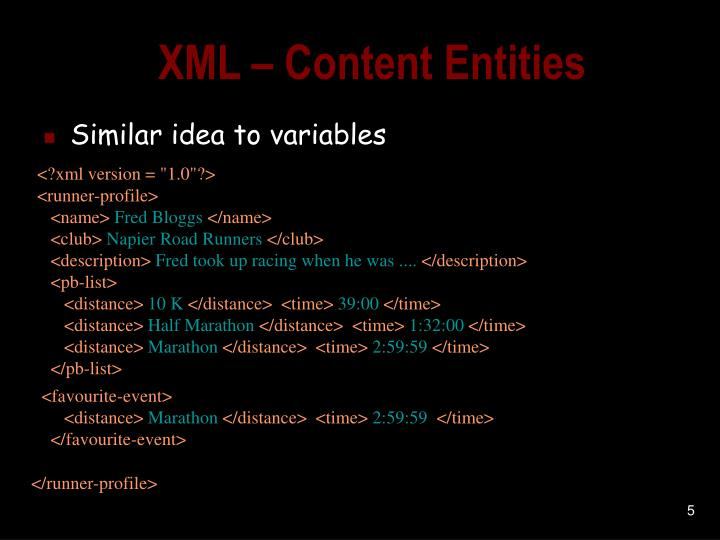 XML – Content Entities