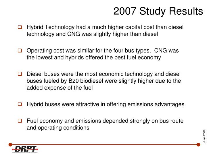 Hybrid Technology had a much higher capital cost than diesel technology and CNG was slightly higher than diesel