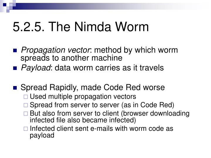5.2.5. The Nimda Worm