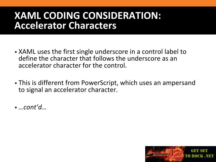 XAML uses the first single underscore in a control label to define the character that follows the underscore as an accelerator character for the control.