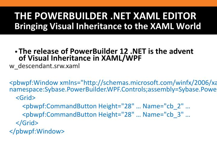 The release of PowerBuilder 12 .NET is the advent of Visual Inheritance in XAML/WPF
