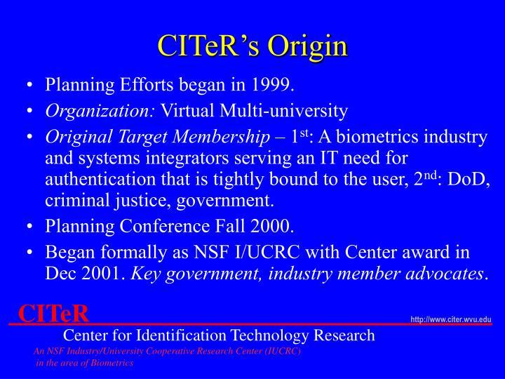 CITeR's Origin