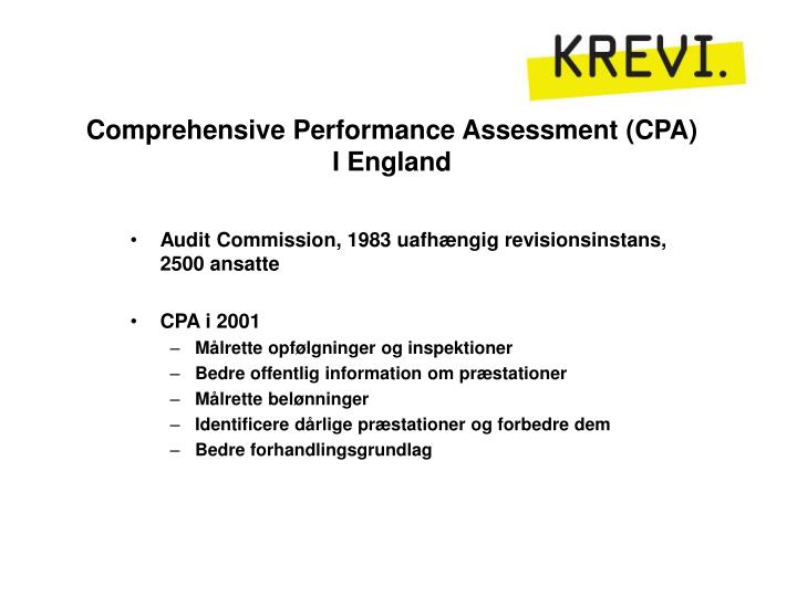 Comprehensive Performance Assessment (CPA)