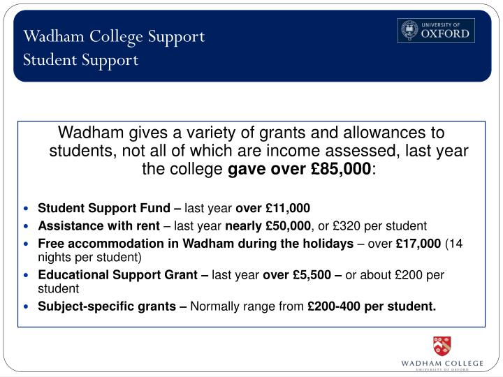 Wadham College Support