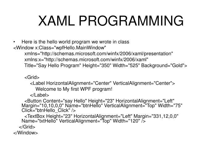XAML PROGRAMMING