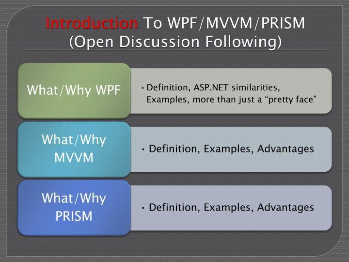 Introduction to wpf mvvm prism open discussion following
