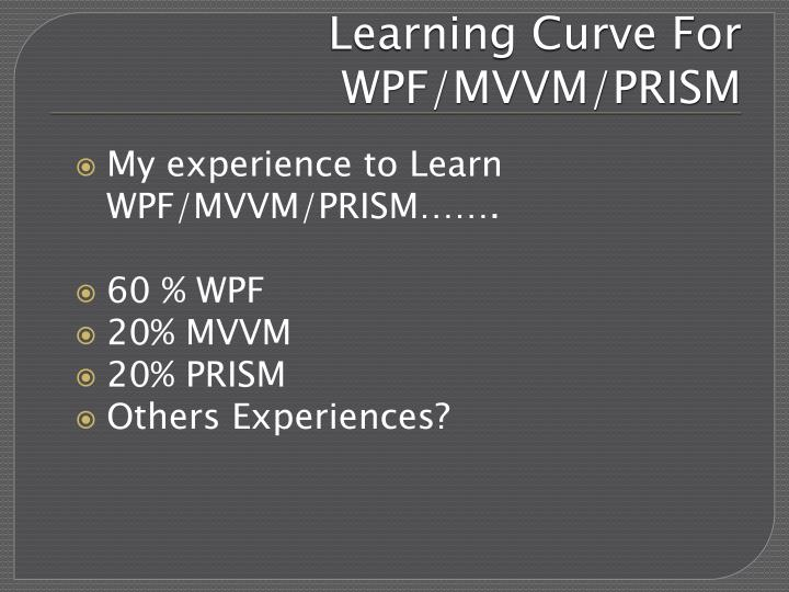 Learning Curve For WPF/MVVM/PRISM