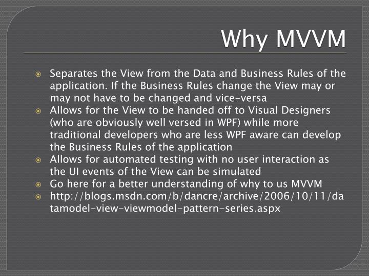Why MVVM