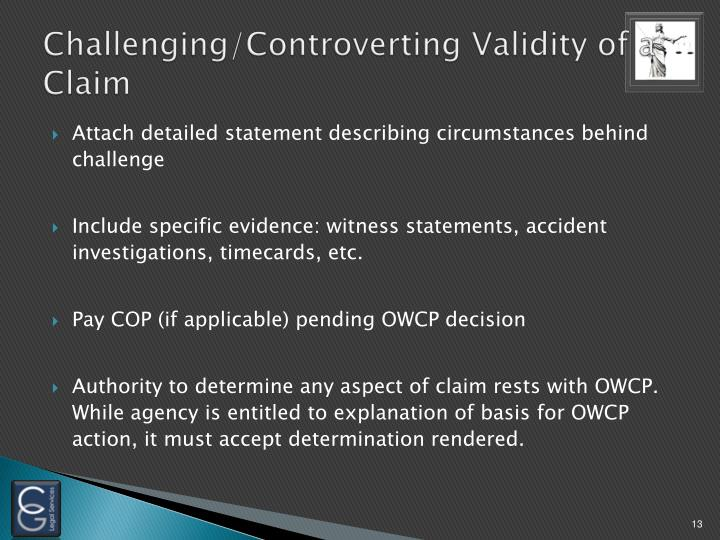 Challenging/Controverting Validity of a Claim