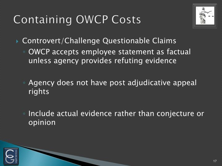 Containing OWCP Costs