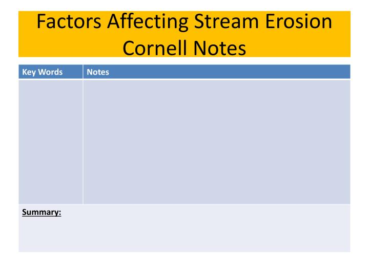 Factors Affecting Stream Erosion Cornell Notes