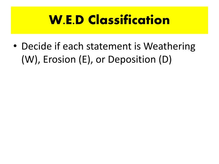 W.E.D Classification