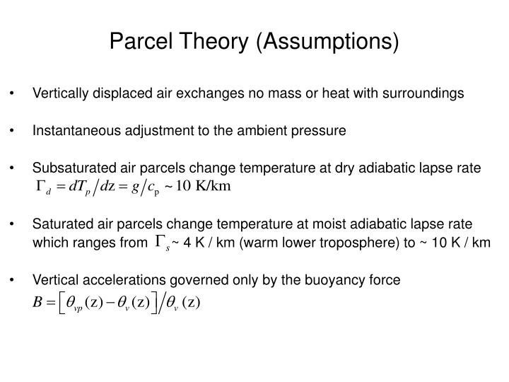 Parcel theory assumptions