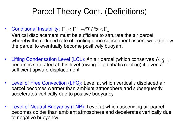 Parcel Theory Cont. (Definitions)