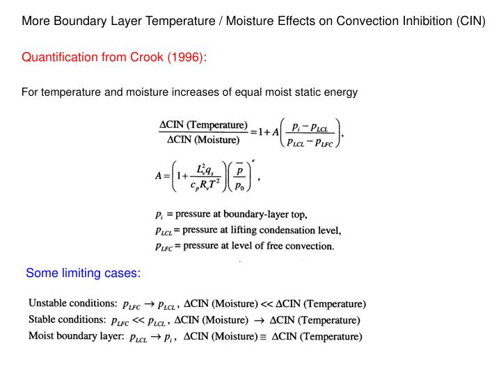 More Boundary Layer Temperature / Moisture Effects on Convection Inhibition (CIN)