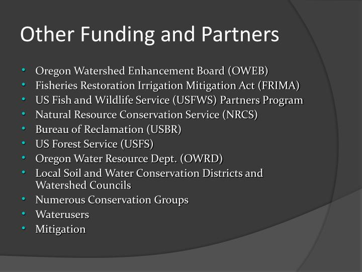 Other Funding and Partners