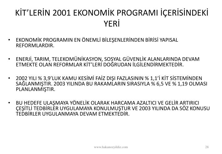 KTLERN 2001 EKONOMK PROGRAMI ERSNDEK YER