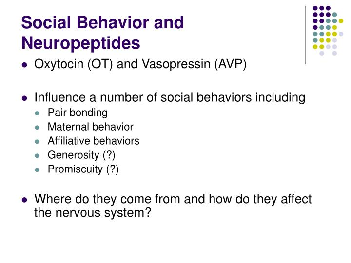 Social behavior and neuropeptides