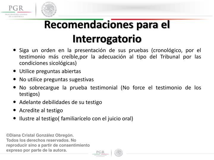 Recomendaciones para el Interrogatorio