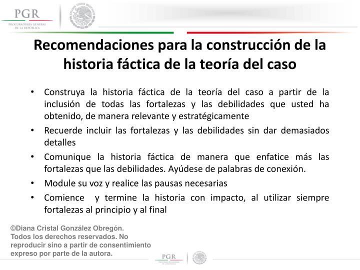 Recomendaciones para la construcción de la historia fáctica de la teoría del caso