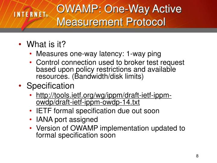 OWAMP: One-Way Active Measurement Protocol