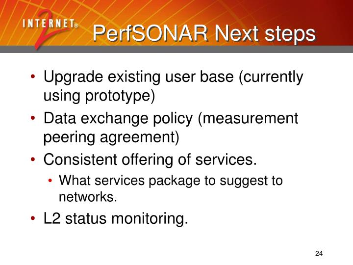 PerfSONAR Next steps