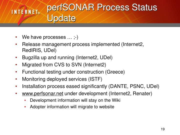 perfSONAR Process Status Update