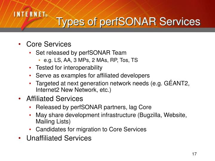 Types of perfSONAR Services