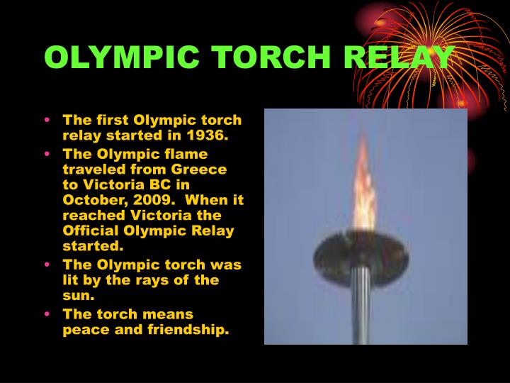 The first Olympic torch relay started in 1936.