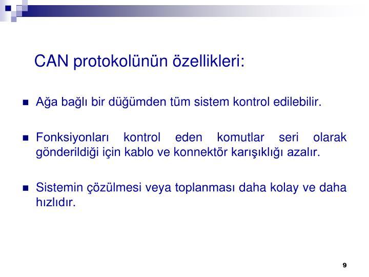 CAN protokolünün özellikleri: