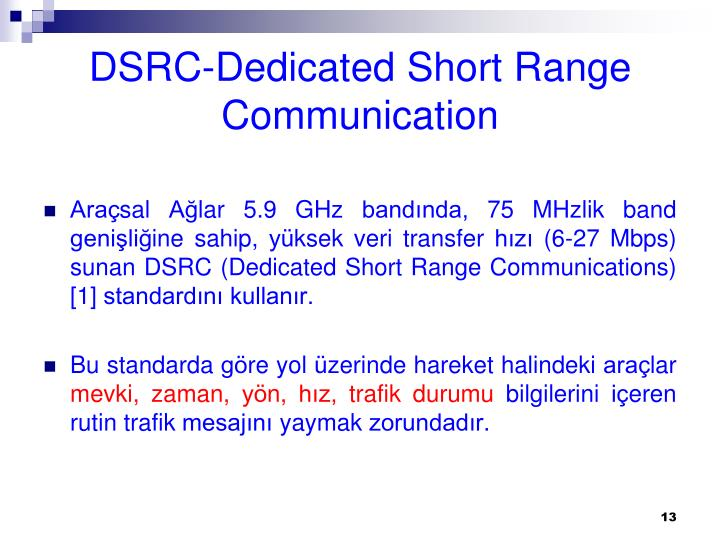 DSRC-Dedicated Short Range Communication