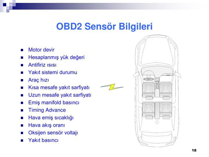 OBD2 Sensör Bilgileri