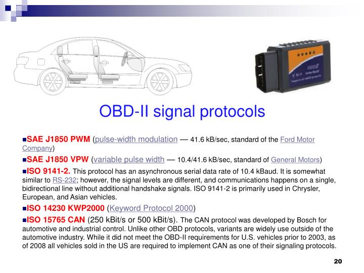 OBD-II signal protocols