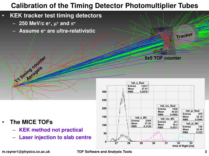 Calibration of the timing detector photomultiplier tubes