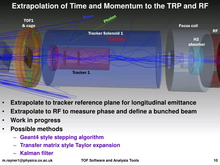 Extrapolation of Time and Momentum to the TRP and RF