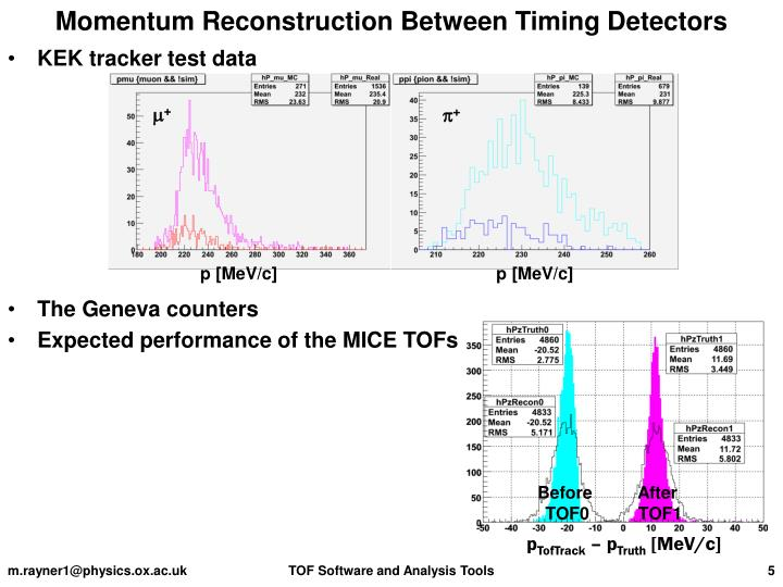 Momentum Reconstruction Between Timing Detectors