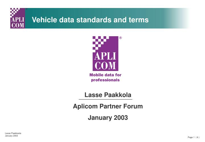 Vehicle data standards and terms
