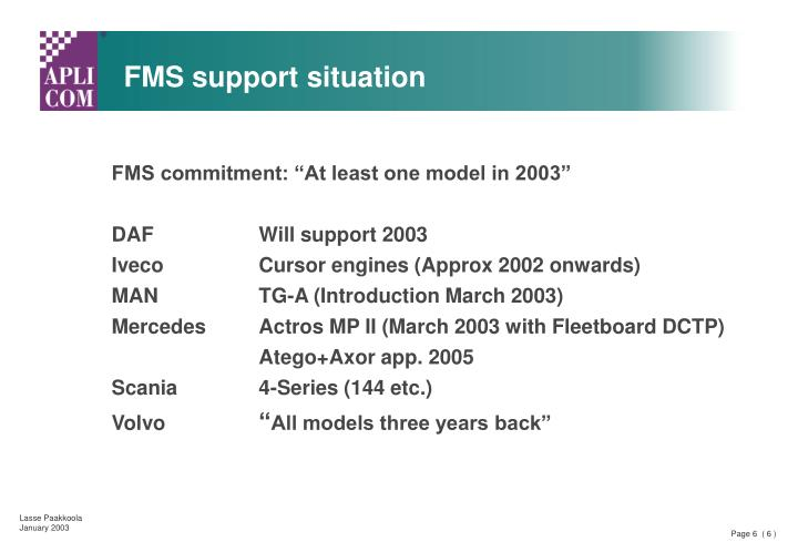 FMS support situation
