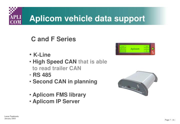 Aplicom vehicle data support