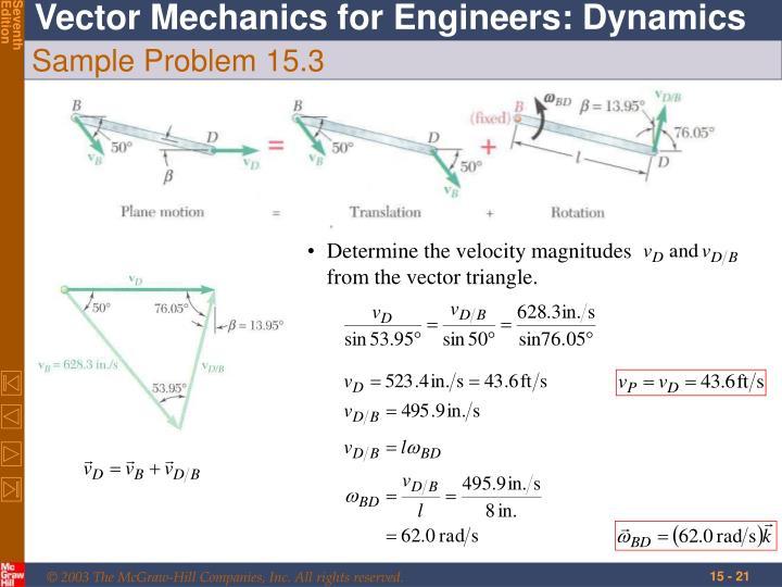 Determine the velocity magnitudes